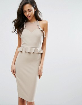 photo Frill Pencil Dress by Miss Selfridge, color Beige - Image 1
