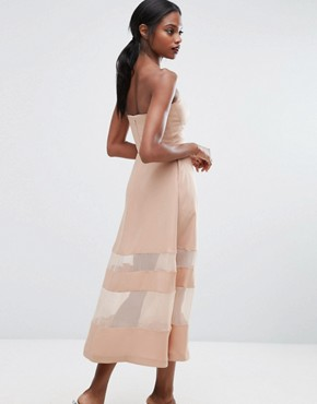 photo Bandeau Maxi Dress with Sheer Inserts by AQ/AQ, color Pink - Image 2