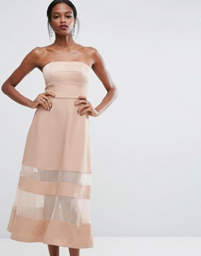 photo Bandeau Maxi Dress with Sheer Inserts by AQ/AQ, color Pink - Image 1