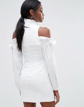 photo Mini Dress with Frills and Cold Shoulder Detail by AQ/AQ, color Ivory - Image 2