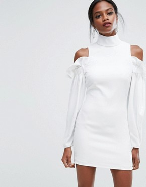 photo Mini Dress with Frills and Cold Shoulder Detail by AQ/AQ, color Ivory - Image 1