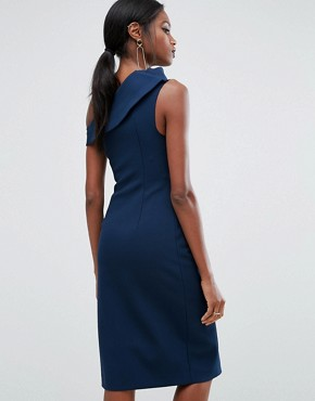 photo Structured Off Shoulder Dress by AQ/AQ, color Navy - Image 2