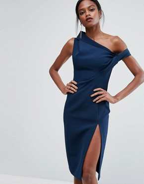 photo Structured Off Shoulder Dress by AQ/AQ, color Navy - Image 1