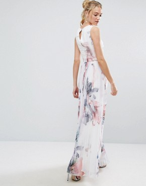 photo Floral Printed Maxi Dress with Pleated Skirt Detail by Little Mistress Tall, color  - Image 2