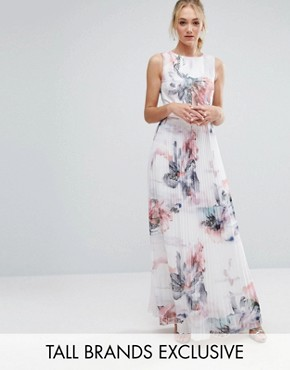 photo Floral Printed Maxi Dress with Pleated Skirt Detail by Little Mistress Tall, color  - Image 1