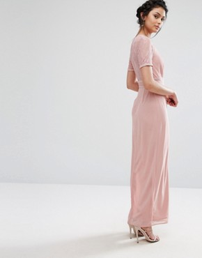photo Maxi Dress with Lace Sleeve and Back by Elise Ryan, color Mauve - Image 2