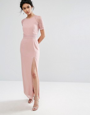 photo Maxi Dress with Lace Sleeve and Back by Elise Ryan, color Mauve - Image 1