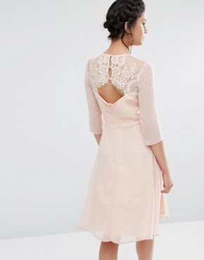 photo Lace Sweetheart Midi Dress with 3/4 Sleeve by Elise Ryan, color Nude - Image 2