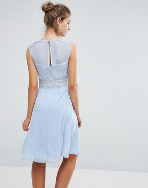 photo Sweetheart Midi Dress with Lace Bodice by Elise Ryan, color Blue - Image 2