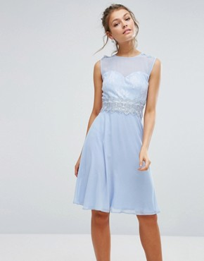 photo Sweetheart Midi Dress with Lace Bodice by Elise Ryan, color Blue - Image 1