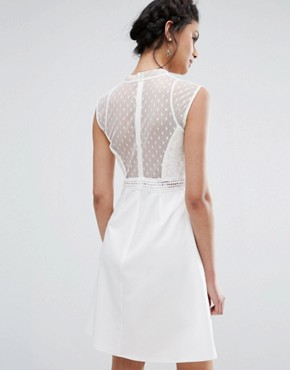 photo A-Line Dress with Spot Mesh and Lace Bodice by Elise Ryan, color Ivory - Image 2