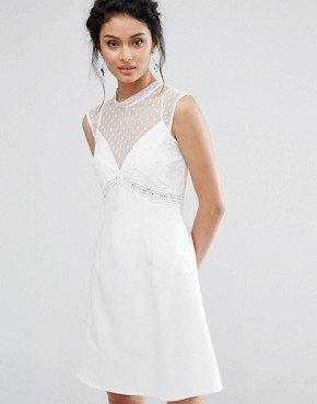 photo A-Line Dress with Spot Mesh and Lace Bodice by Elise Ryan, color Ivory - Image 1