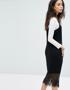 photo Cami Midi Dress with Lace Inserts by Noisy May Tall, color Black - Image 2