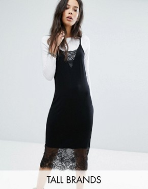 photo Cami Midi Dress with Lace Inserts by Noisy May Tall, color Black - Image 1