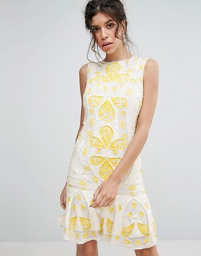 photo Sequin Shift Mini Dress by Frock and Frill, color Off White - Image 1