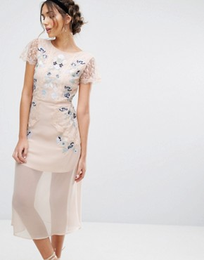 photo Embroidered Panelled Midi Dress by Frock and Frill, color Peach - Image 1