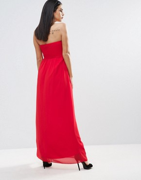 photo Cut Out Bandeau Maxi Dress by Little Mistress, color Tomato - Image 2