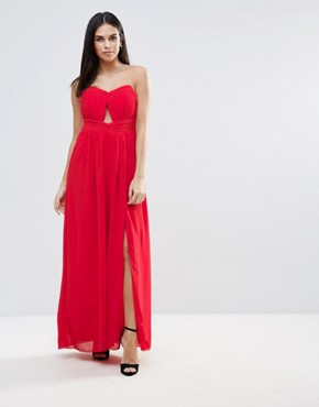 photo Cut Out Bandeau Maxi Dress by Little Mistress, color Tomato - Image 1