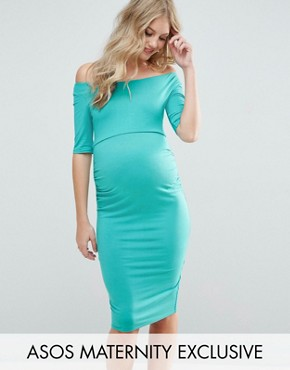 photo Bardot Dress with Half Sleeve by ASOS Maternity, color Teal - Image 1