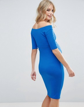 photo Bardot Dress with Half Sleeve by ASOS Maternity, color Blue - Image 2