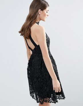 photo Lace Halter Neck Mini Dress by Little Mistress, color Black - Image 2