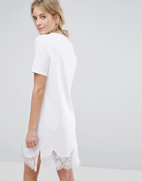 photo T-Shirt Dress with Lace Inserts by ASOS Maternity, color White - Image 2