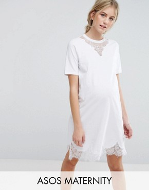 photo T-Shirt Dress with Lace Inserts by ASOS Maternity, color White - Image 1