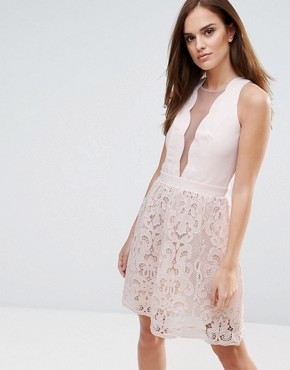 photo Scallop and Crochet Mini Dress by Little Mistress, color Nude - Image 1