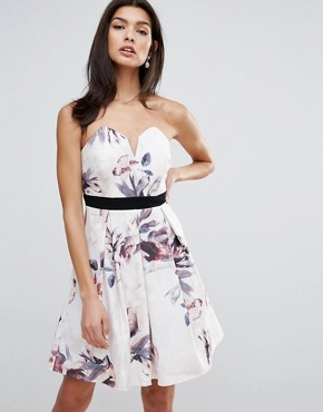 photo Floral Print Sweetheart Neck Mini Dress by Little Mistress, color  - Image 1