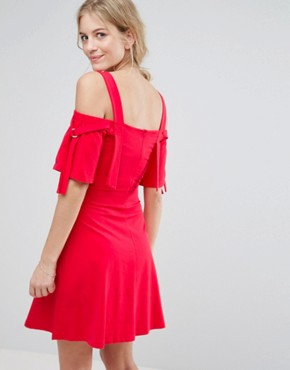 photo Bow Sleeve Cold Shoulder Dress with D Rings by ASOS Maternity, color Red - Image 2