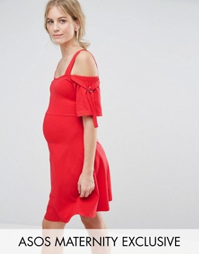 photo Bow Sleeve Cold Shoulder Dress with D Rings by ASOS Maternity, color Red - Image 1