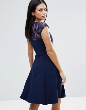 photo Lace Detail Fluted Swing Dress by Paper Dolls, color Navy - Image 2