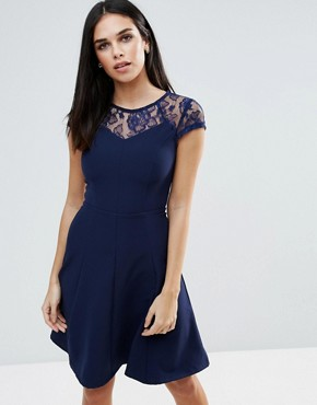 photo Lace Detail Fluted Swing Dress by Paper Dolls, color Navy - Image 1