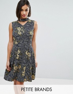 photo Skater Dress with Choker Detail by Yumi Petite, color  - Image 1