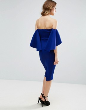 photo Dramatic Sleeve Scuba Midi Dress by ASOS, color Cobalt - Image 2