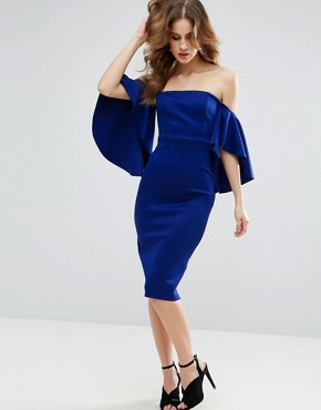 photo Dramatic Sleeve Scuba Midi Dress by ASOS, color Cobalt - Image 1