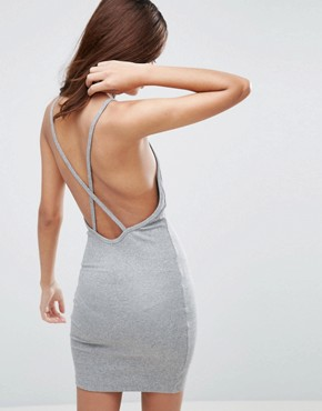 photo Mini Dress In Rib with Cross Back by ASOS, color Light Grey - Image 1