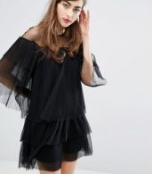 photo Mesh Dress with Frills by E.F.L.A, color Black - Image 1