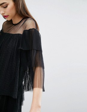 photo Mesh Dress with Frills by E.F.L.A, color Black - Image 3