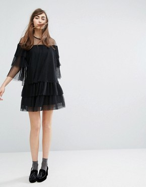 photo Mesh Dress with Frills by E.F.L.A, color Black - Image 4