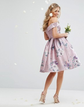 photo Off Shoulder Satin Midi Dress In Floral Print by Chi Chi London, color  - Image 2