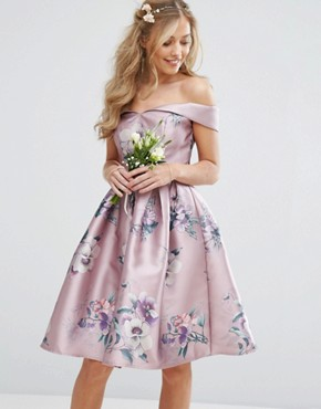 photo Off Shoulder Satin Midi Dress In Floral Print by Chi Chi London, color  - Image 1