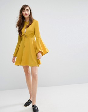 photo Tie Front Swing Dress by E.F.L.A, color Marigold - Image 4