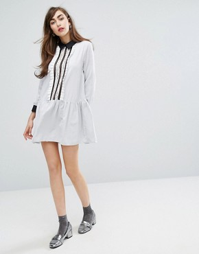photo Shirt Dress with Ruffles by E.F.L.A, color Grey Stripe - Image 4