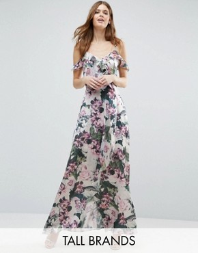 photo Cold Shoulder Floral Print Maxi Dress by Vero Moda Tall, color  - Image 1