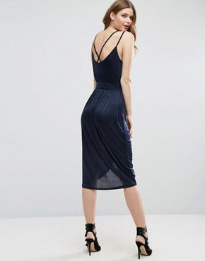 photo Draped Wrap Front Dress by Vero Moda Tall, color Navy - Image 2