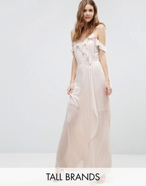 photo Cold Shoulder Frill Front Maxi Dress by Vero Moda Tall, color Silver Peony - Image 1