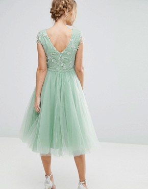 photo Tulle Midi Dress with 3D Embroidery by Chi Chi London, color Sage Green - Image 2