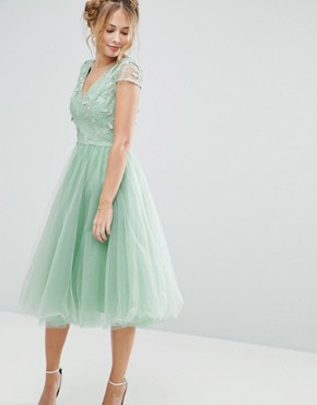 photo Tulle Midi Dress with 3D Embroidery by Chi Chi London, color Sage Green - Image 1