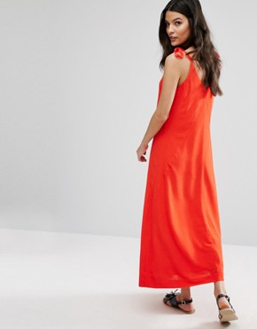 photo Red Sleeveless Dress by Selected Femme, color Flame Scarlet - Image 2